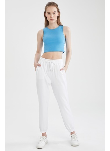 DeFacto Bağcıklı Relax Fit Spor Jogger Eşofman Altı Beyaz